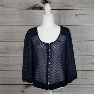 The Limited • L blouse sheer buttons 3/4 sleeve